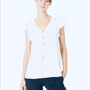 Calvin Klein White Button Front Blouse large NWT